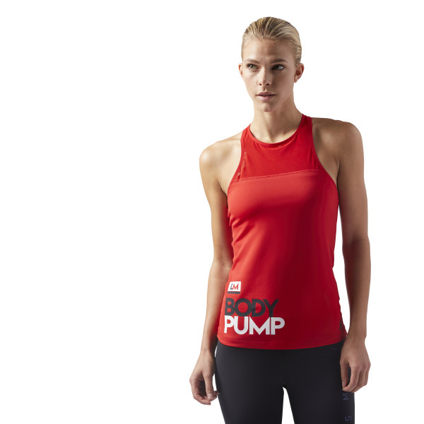 35fc775ab91ae LES MILLS BODYPUMP Tank With Padded Built In Sports Bra.  40 80. Color  Primal  Red