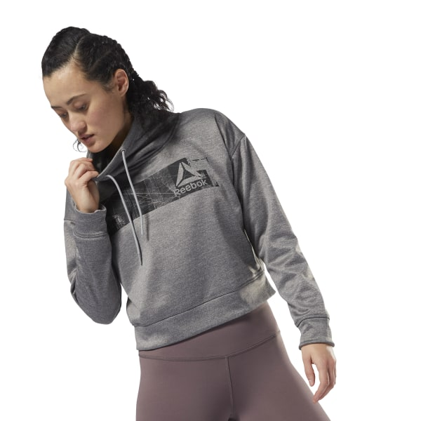 Reebok Workout Ready Thermowarm Fleece Coverup - Grey ... 5fd319c4a