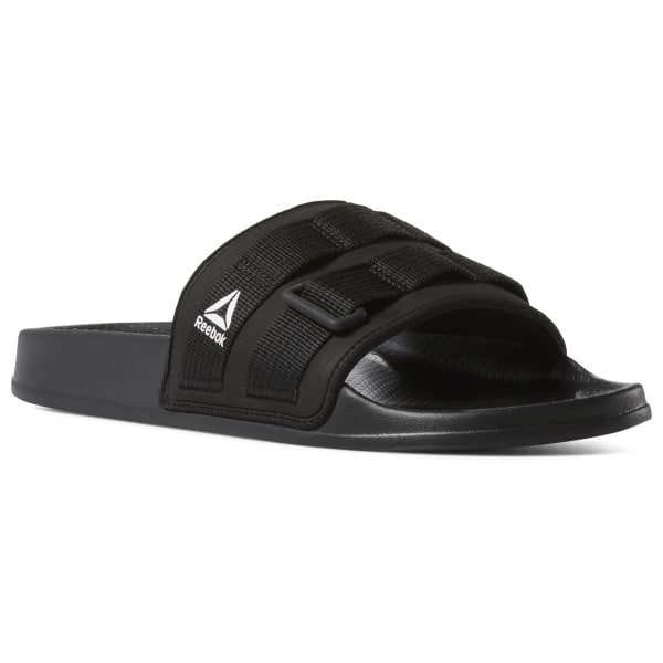 28a586dc5ec17e Reebok Fulgere Utilitarian Slides. £24.95. Color  Black White Primal Red
