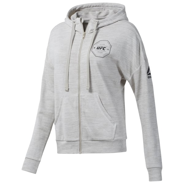 Reebok UFC Fight Gear Full-Zip Hoodie - Beige  3e3b5ca76be