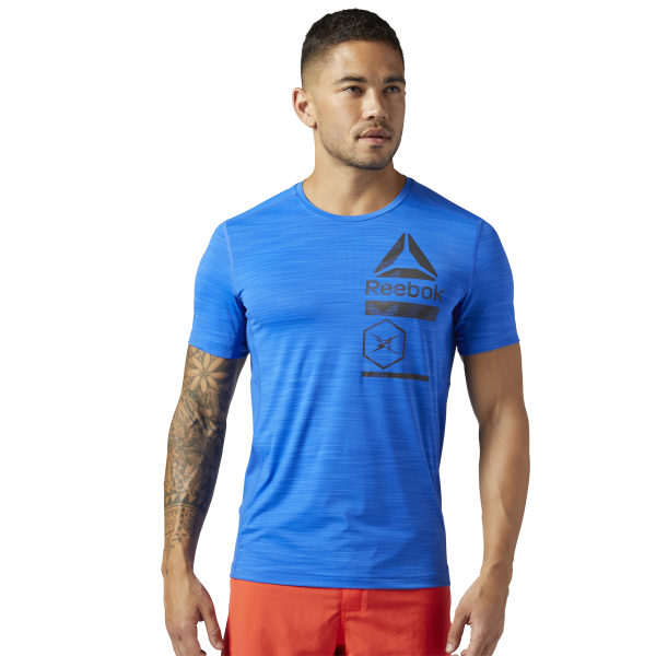 42118dd3 Reebok ACTIVCHILL Zoned Graphic Tee - Blue | Reebok New Zealand