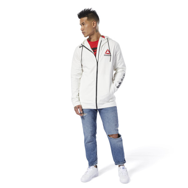 197a34325e86ce Reebok UFC Fight Night Blank Walkout Hoodie - White