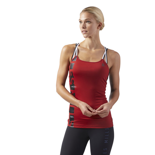 8affcc11d3 Reebok LES MILLS®™ Tank Top with Padded Sports Bra - Red ...