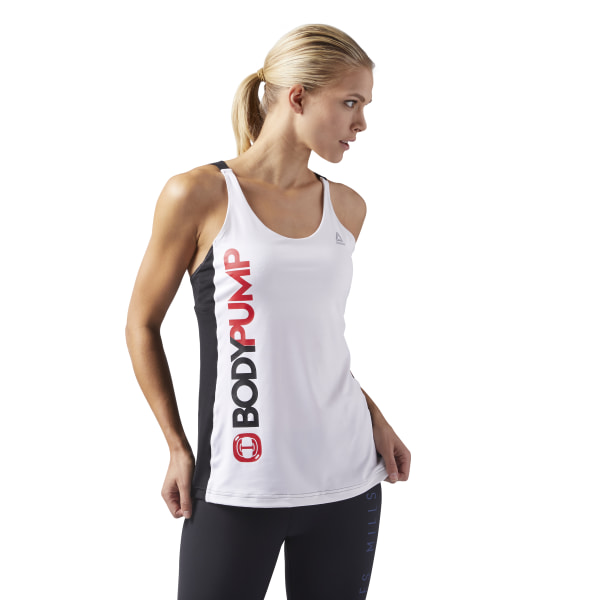 9ee8f66d65088 Reebok LES MILLS® BODYPUMP™ Tank With Built In Bra - White
