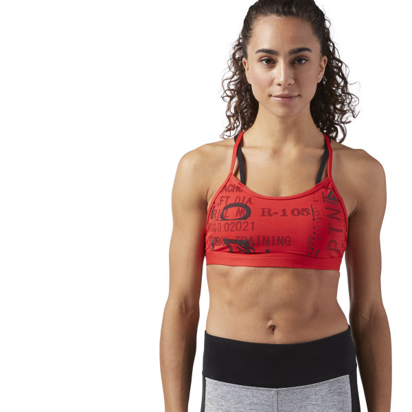 a3783470bfd7c Reebok Graphic Strappy Sports Bra - Red