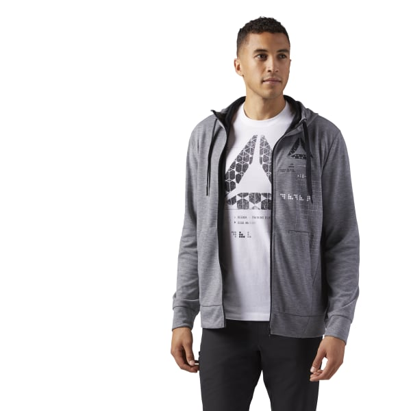 8e8f04930 Sudadera con capucha y zipper completo SpeedWick MEDIUM GREY HEATHER CG1271