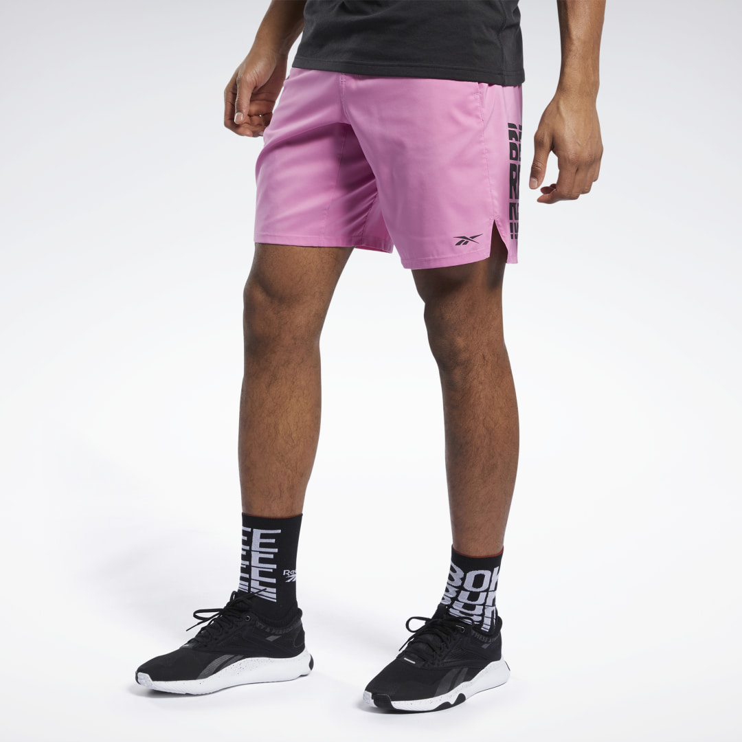 Maintain focus through your most demanding workouts. These men\'s training shorts are made of stretchy and lightweight material that wicks sweat to keep you cool and dry. The sleek drawcord waistband provides a secure fit while the side zip pocket offers a