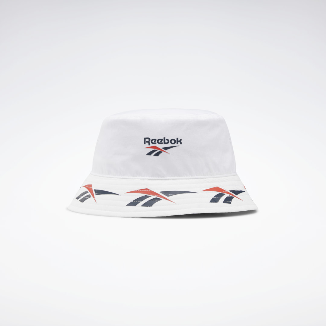 Clean, simple design for the win. This bucket hat features repeating contrast Reebok Vector logos for a sporty look. The bucket style gives it an easygoing, free-spirited vibe. Eyelets provide extra ventilation. 100% nylon plain weave Eyelets for breathab