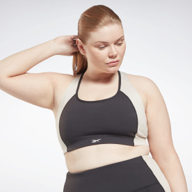 Lux Racer Padded Colorblock Sports Bra (Plus Size)