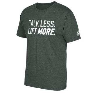 Talk Less Lift More Tee Green Heathered FQ6255