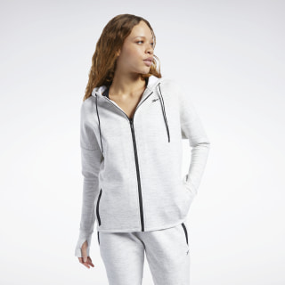 United by Fitness Doubleknit Full-Zip Hoodie White Melange FQ4458