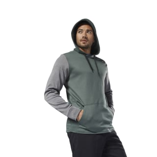 Fleece Pullover Hoodie Chalk Green / Dark Grey Heather DH1760