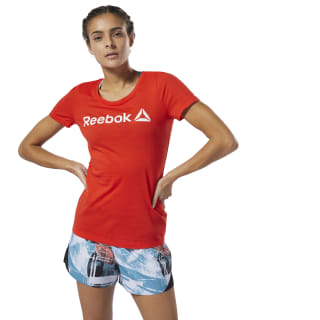 Reebok Linear Scoop Neck Tee Canton Red DU4647