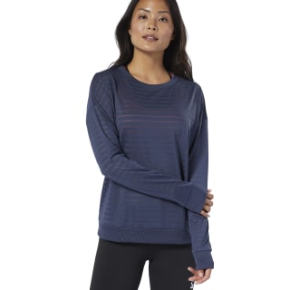 Studio Mesh Long Sleeve Tee Heritage Navy EB8079