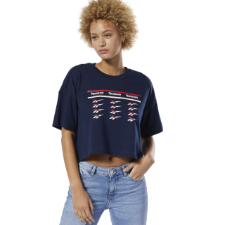 Classics All Over Vector Crop Tee Collegiate Navy DZ2421