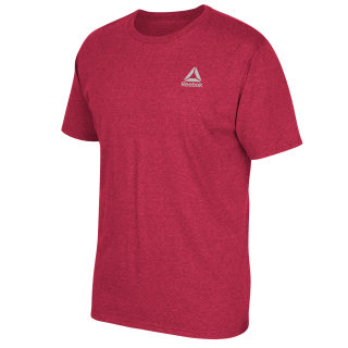 Left Chest Stacked Logo Tee Red Heathered FP8014