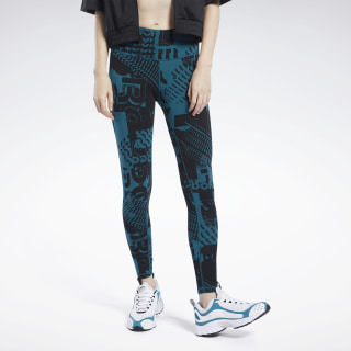 Meet You There Allover Print Leggings Heritage Teal FK6743