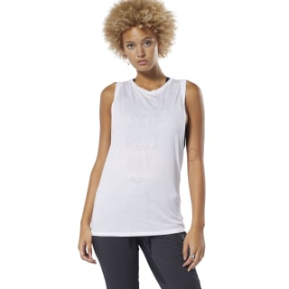 Training Supply Graphic Muscle Tank Top White DP5640
