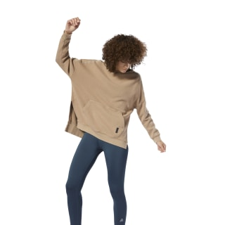 Combat Washed Ribbed Crewneck Sweatshirt Beige DU4964