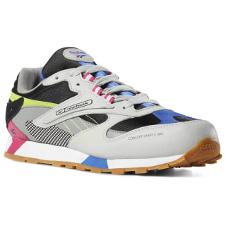 Classic Leather ATI 90s Shoes - Grade School Grey / Black / Pink / Neon Lime DV5515
