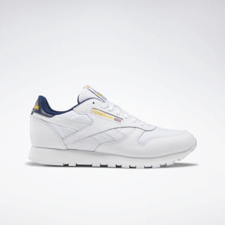 Classic Leather Shoes White / Collegiate Navy / Yellow DV9589
