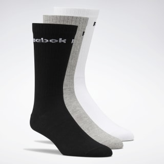 Active Core Crew Socks 3 Pairs White / Black / Medium Grey Heather FL5231