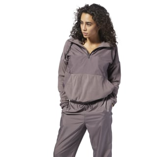 TE Microfleece Woven Mix Hoodie Almost Grey D95803