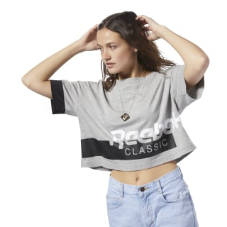 Reebok Classics Cropped Tee Medium Grey Heather / White DH1320