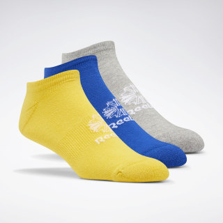 Classics Foundation No-Show Socks 3 Pairs Toxic Yellow / Medium Grey Heather / Cobalt EC8564