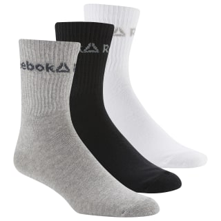 Active Core Crew Socks – 3er-Pack White / Black / Medium Grey Heather DU2993