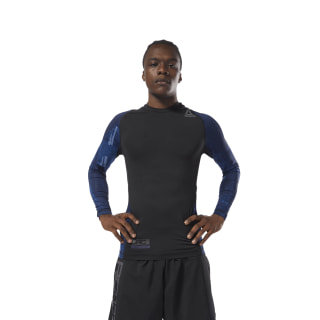 Reebok Combat Long Sleeve Rash Guard Bunker Blue CY9964