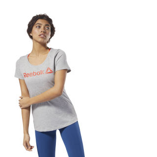 Reebok Linear Scoop Neck Tee Medium Grey Heather / Carotene DH3735