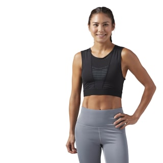 Perforated Cropped Tank Black CF3275