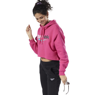 Classics V Alter the Icons Cropped Hoodie Pink Fusion EK1738