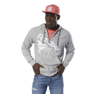 Sweat à capuche à motif demi-zip Classics Medium Grey Heather DT8207