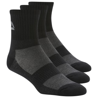 Active Foundation Mid-Crew Socks Three Pack Black/Black/Black DU3014
