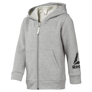 Boys Training Essentials Fullzip Fleece Hoody Medium Grey Heather DJ3084