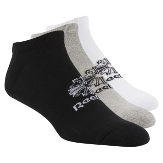 Classics Foundation Unisex No Show Sock – 3pair White / Medium Grey Heather / Black DH3422