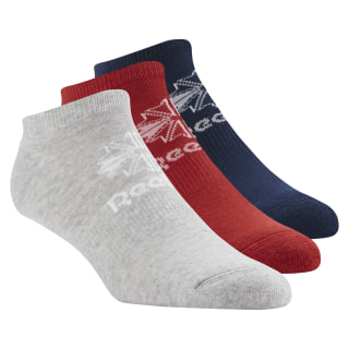 Classics Foundation Unisex No Show Sock - 3pair Collegiate Navy/Rich Magma/Medium Grey Heather CV5745