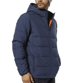 Outdoor Lightweight Down Jacket Heritage Navy / Fiery Orange EJ8342