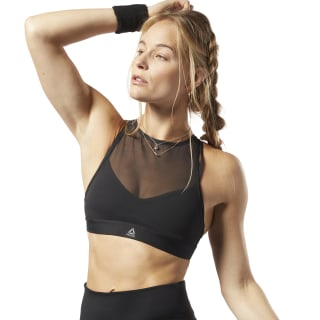 Studio Strappy Mesh Medium-Impact Bra Black EB8092