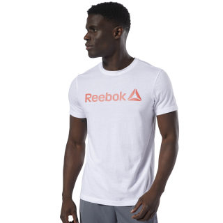 T-shirt avec inscription Reebok White / Neon Red DU4703