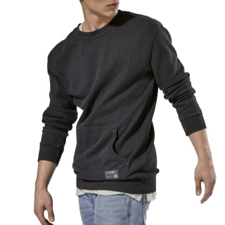 Noble Fight Sand Washed Knitted Crew Neck Black CY9998