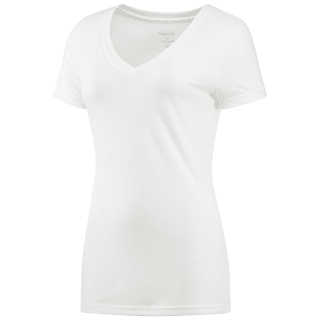 Camiseta de cuello de pico Reebok Training personalised White AJ8011