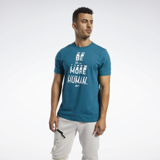Camiseta Gola Careca Graphic Series Be More Human Heritage Teal FK6023