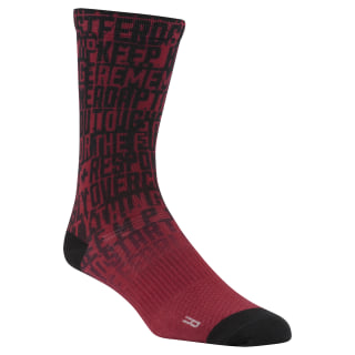 Active Enhanced Printed Crew Socks Cranberry Red CZ9825