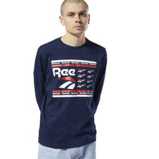 Classics All Over Vector Long Sleeve Collegiate Navy DY7866