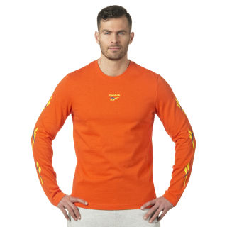 LF Long Sleeve Print T-Shirt Orange/Bright Lava DN9807