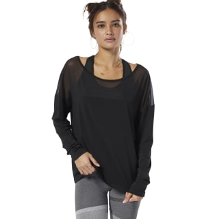 Polerón D Mesh Long Sleeve Top black / black DU4502