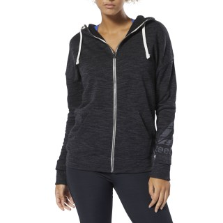 Sweat à capuche zip intégral à effet marbré Training Essentials Black DU4899
